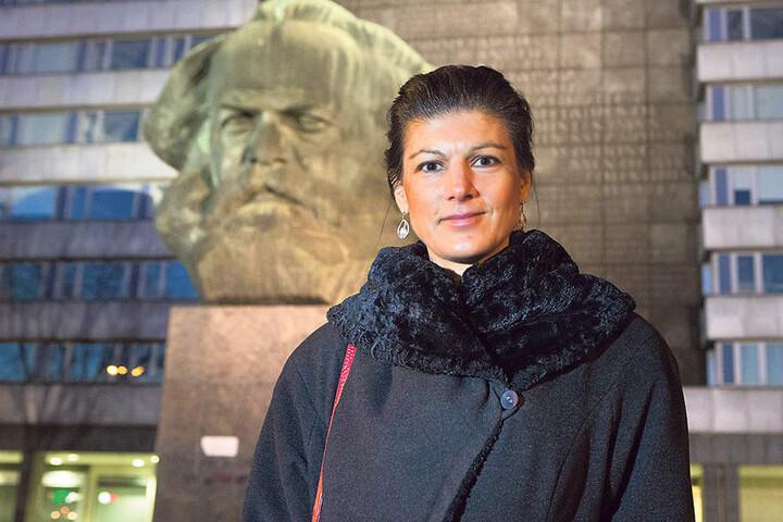 Sahra Wagenknecht (47) schaute  Mittwochabend vor ihrem Auftritt noch schnell bei Karl Marx vorbei.