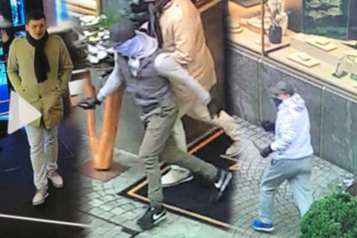 Ein Ausschnitt aus Überwachungsvideos zeigt drei der mutmaßlichen Täter.
