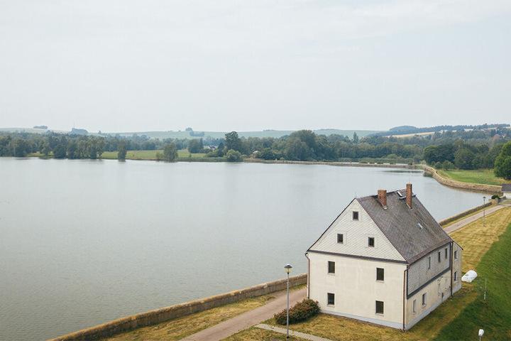 Blick aus der Luft auf die Stauanlage am Unteren Großhartmannsdorfer Teich.