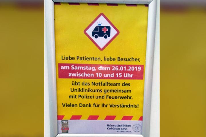 Mit diesem Schild warnte die Klinik die anderen Patienten und Besucher.