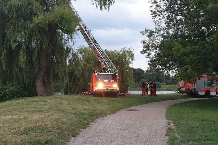 Mit einer Drehleiter suchte die Feuerwehr nach dem Vermissten im See.