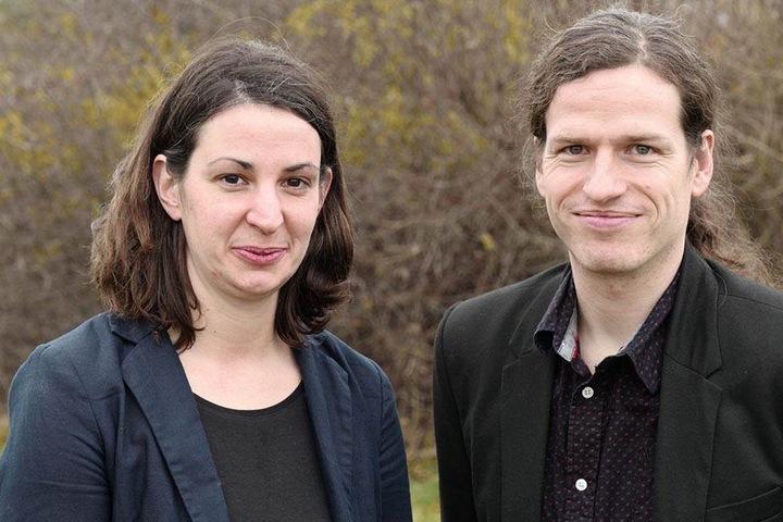 Derzeit die Grünen-Chefs in Sachsen: Christin Melcher (34) und Jürgen Kasek (37).