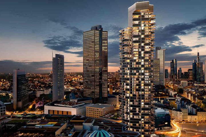 """Die Visualisierung zeigt den geplanten Wohnturm """"Grand Tower"""" (vorn) in Frankfurt am Main, der mit 172 Metern Deutschlands größter Wohnturm werden soll."""