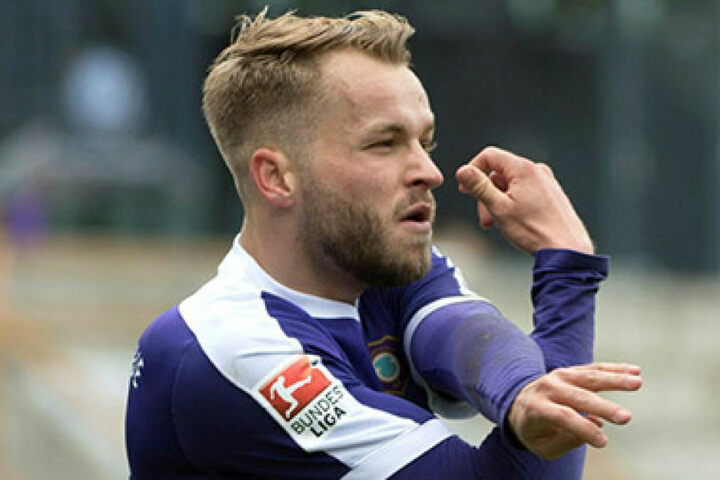 Mit dem Benjamin-Blümchen-Jubel feierte Pascal Köpke seinen ersten Treffer  seit dem 28. Januar.