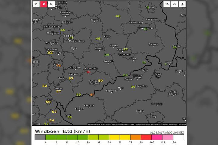 Hier ein Screenshot von Dienstagmorgen. Windböen Sachsen um 7 Uhr. Windböen 6 Uhr: 17 km/h, 6.40 Uhr: 91 km/h