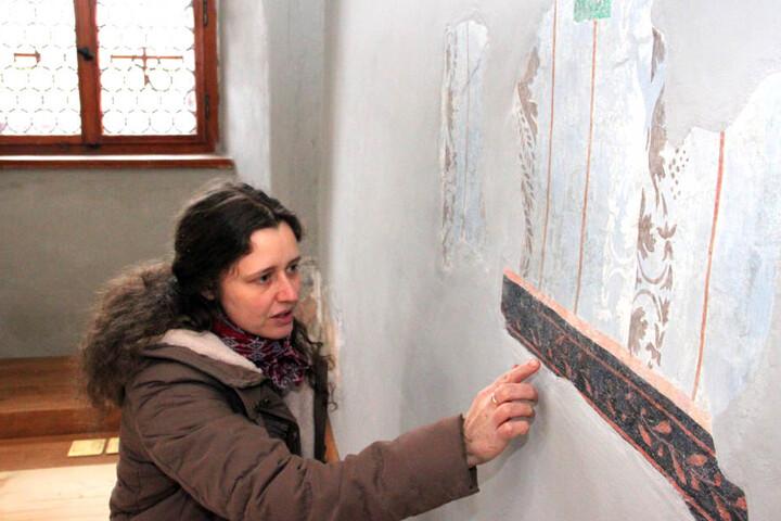 Restauratorin Sandra Finsterbusch hat unter zahlreichen Anstrichen im  Barocksaal historische Malereien freigelegt.