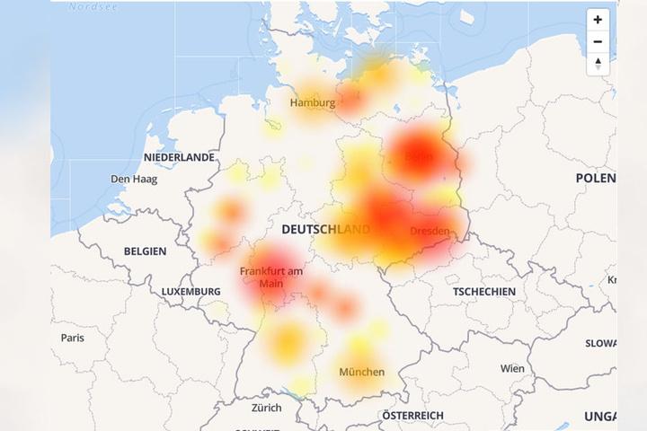 Auf der Karte von allestörungen.de sieht man die bundesweite Störung.