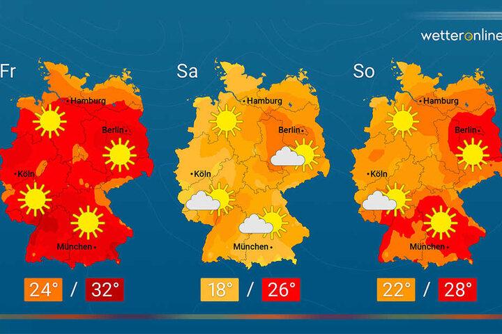 So soll das Wetter laut Wetter Online in den nächsten Tagen werden.
