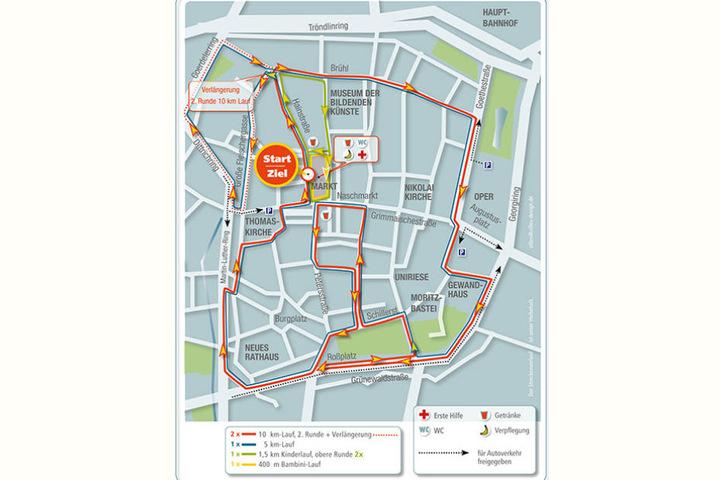 Die Streckenführung des Stadtlaufs und daraus resultierende Verkehrseinschränkungen.