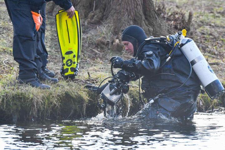 Ein Polizeitaucher kommt aus dem Wasser des Storkower Sees nahe der Mündung in den Wolziger See im Landkreis Dahme-Spreewald.