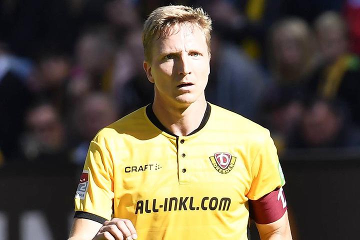 """Dynamos Kapitän Marco Hartmann warnt vorm Spiel beim 1. FC Köln vor zu großer Euphorie, sieht die Außenseiterrolle der Schwarz-Gelben aber als """"schöne Ausgangslage""""."""