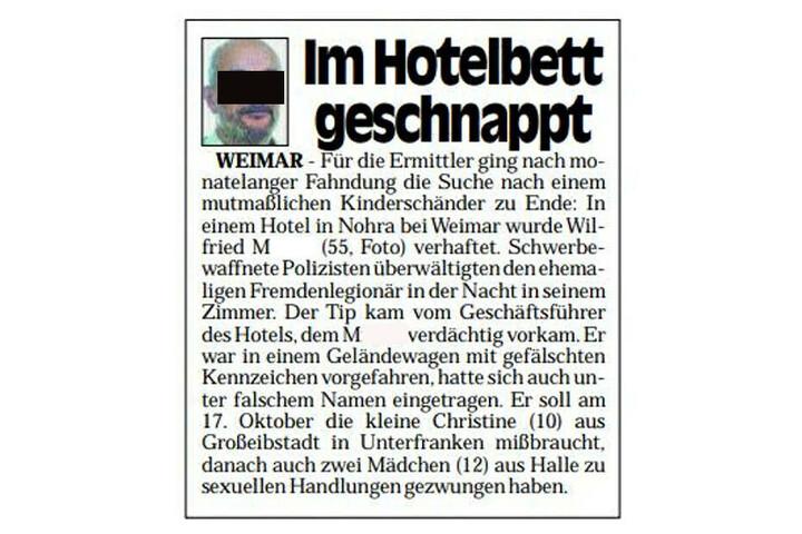 """""""Im Hotelbett geschnappt"""" - so berichtete die Morgenpost am 24. Januar 1998 über die Festnahme des international gesuchten Verbrechers Wilfried M."""