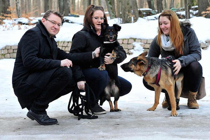 Ricco und Martina Stusche sind mit ihrer Hündin Komma und Beatrice Lange mit Hope im Zeisigwald unterwegs.