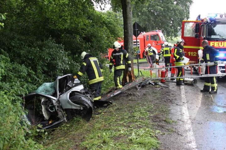 Das Auto krachte gegen den Baum.