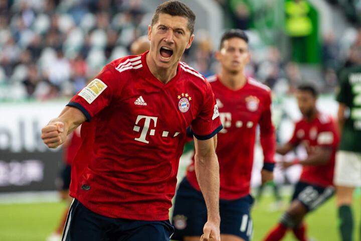 Robert Lewandowski sorgte in der ersten Halbzeit für die verdiente Führung des FC Bayern München.