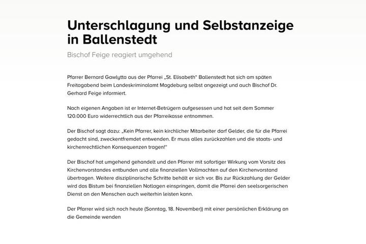 Diese Mitteilung stellte das Bistum Magdeburg am Sonntag ins Netz.