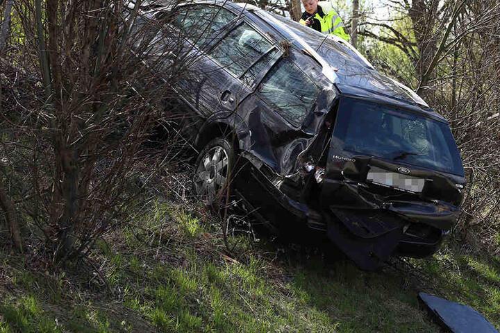 Das eigentliche Unfallfahrzeug rauschte den Hang hinauf.