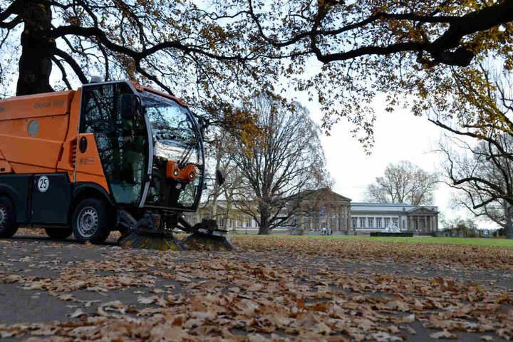Trotz der milden Temperaturen: Die Kehrmaschine fegt das Laub auf und macht klar, dass wir eigentlich Ende November haben.
