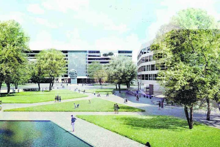 Der Sieger-Entwurf von 2015: So stellen sich Architekten den Stadthallenpark  vor. Rechts ein Gebäude mit Gastronomie und Geschäften.
