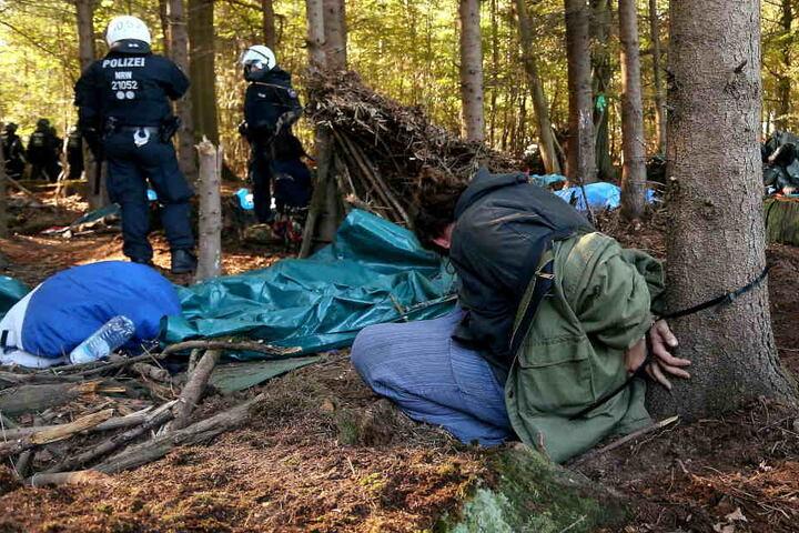 Die Polizei räumte den besetzten Wald von Aktivisten.