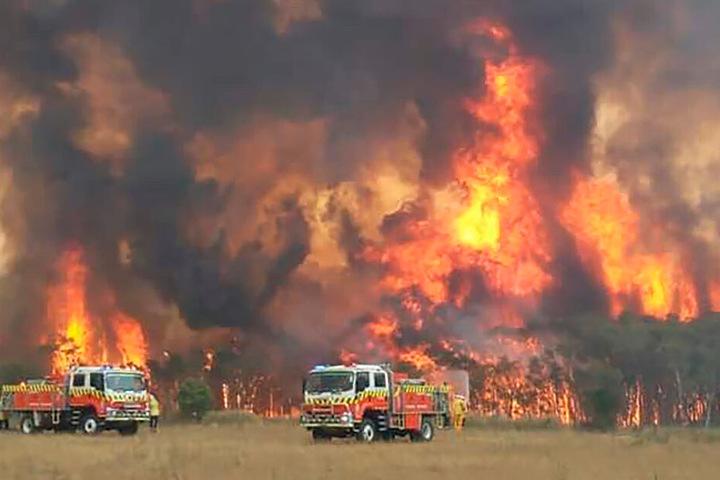 Dieses von der Feuerwehrbehörde des Bundesstaats New South Wales auf Twitter geteilte Foto zeigt Feuerwehrleute bei dem Versuch, Wohnhäuser um Charmhaven vor den Bränden zu schützen.