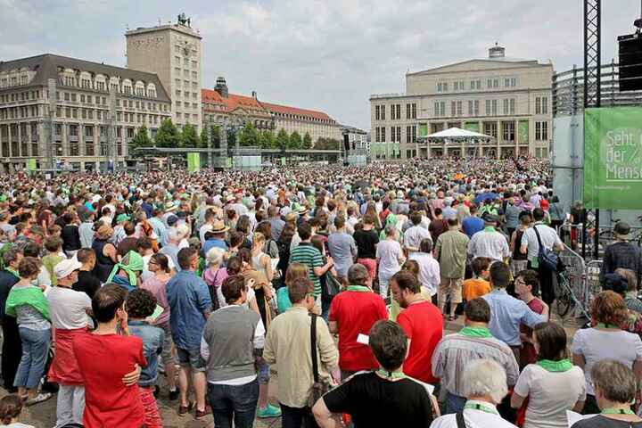 Der Augustusplatz wird ähnlich voll, wie zum Katholikentages am 29.05.2016.