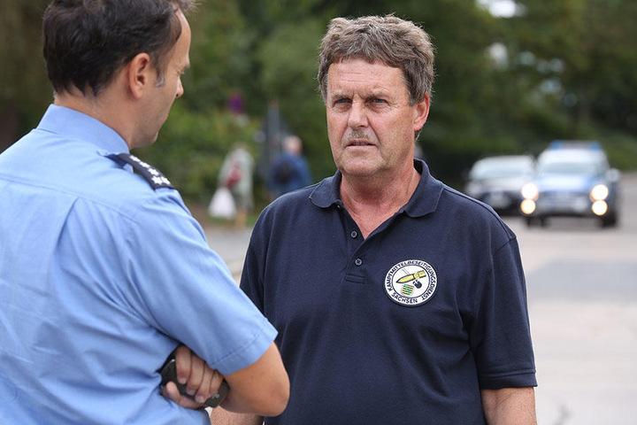 Polizeisprecher Thomas Geithner und Sprengmeister Thomas Lange