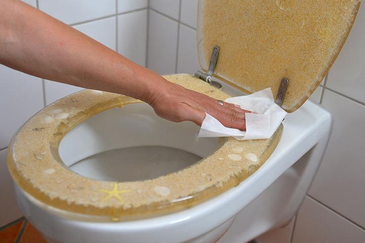 Feuchte Reinigungstücher sollten lieber nicht die Toilette runtergespült werden.