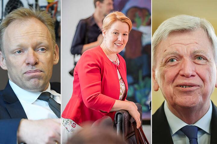 v.li.: Clemens Fuest vom Ifo-Institut, Familienminitserin Franziska Giffey (SPD) und der Ministerpräsident von Hessen, Volker Bouffier (CDU).