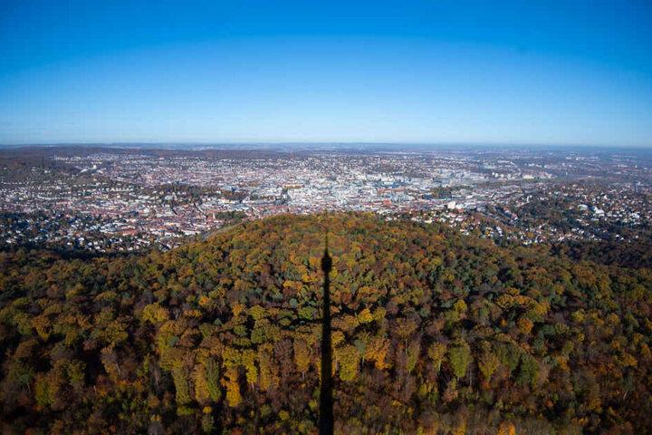 Blick vom Stuttgarter Fernsehturm: Winterwetter sieht anders aus.