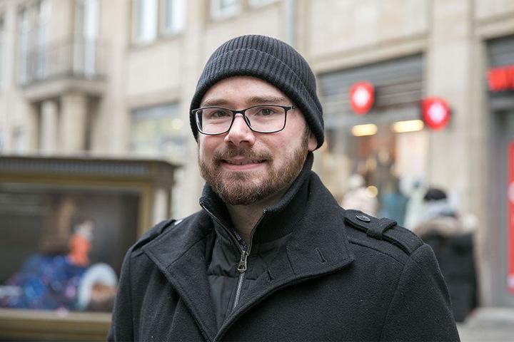 """Marcus Mühle (28) aus Dresden feiert heute nicht: """"Wir brauchen keinen Frauentag. Ich schenke meiner Freundin öfters mal zwischendurch Blumen. Das finde ich wichtiger."""""""