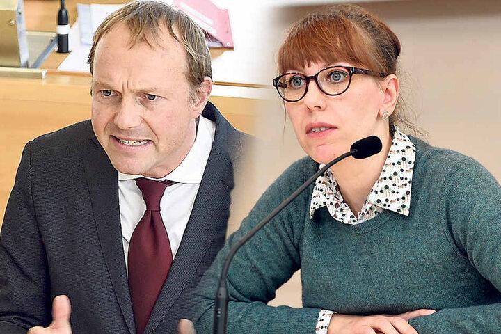 """Grünen-Fraktions-Chef Wolfram Günther (45): """"Kretschmer verspricht viel, hält aber wenig."""" - Katja Meier (39, Grüne) fordert mehr Ehrlichkeit vom Ministerpräsidenten."""