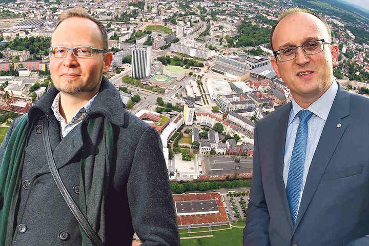 Stadtrat Andreas Wolf-Kather (41, Vosi/Piraten, li.) kritisiert das Parkraumkonzept. Jörg Vieweg (46, SPD) verteidigt kostenfreie Parkplätze für die Parlamentarier.
