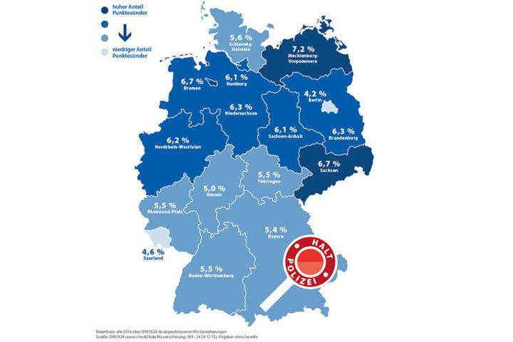 Die Grafik zeigt, wo die größten Punktender leben: Mecklenburg-Vorpommern und Leipzig sind Spitzenreiter.