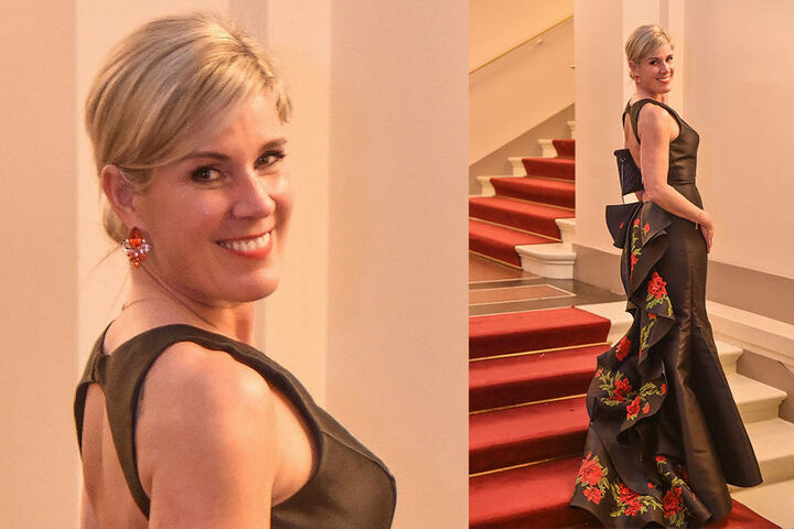 Dr. Yvonne Klein, Zahnärztin und Gattin des Dresdner SAP-Chefs Stephan Klein, sah in ihrem Couture-Kleid von Sherri Hill bezaubernd aus.