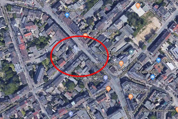Nach dem Überfall in der Lorscher Straße flüchtete der Mann in die Alexanderstraße.
