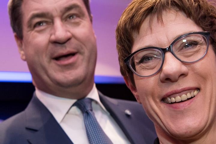 Markus Söder (l.) ist CSU-Chef, Annegret Kramp-Karrenbauer (r.) die aktuelle CDU-Vorsitzende.