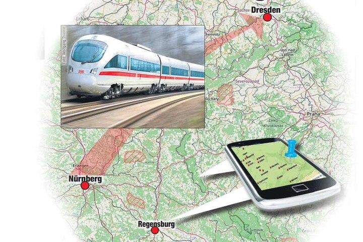 Von Nürnberg über Regensburg nach Tschechien? Auf dieser Route vermutet die Polizei den Rentner.