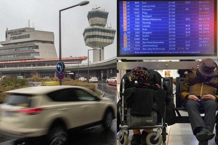 Allein am Flughafen Berlin-Tegel fielen über 90 Flüge aus. (Bildmontage)