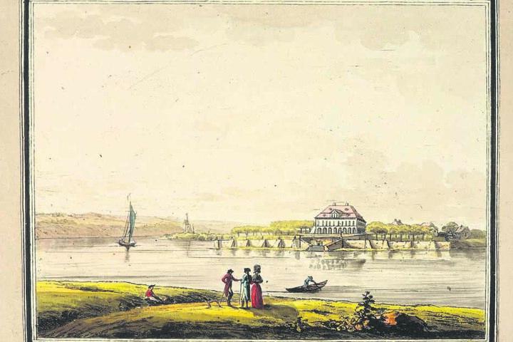 So prächtig stand das Schloss zu früheren Zeiten an der Elbe.