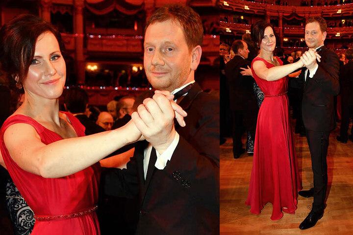 Annett Hofmann (42) wählte für den Eröffnungswalzer mit MP Michael Kretschmer (42) ein schwingendes rotes Kleid.