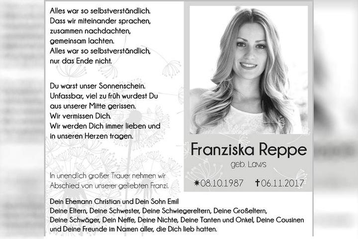 Mit dieser Traueranzeige nimmt Franziska Reppes Familie Abschied von der Sängerin.
