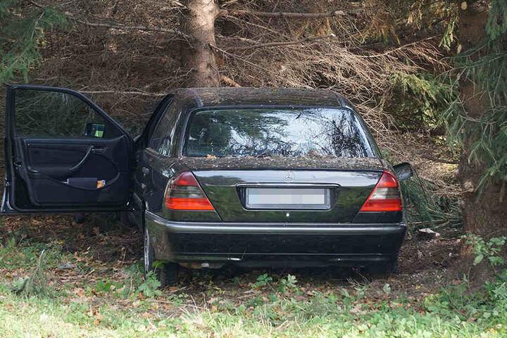 Der Fahrer krachte frontal in einen Baum.