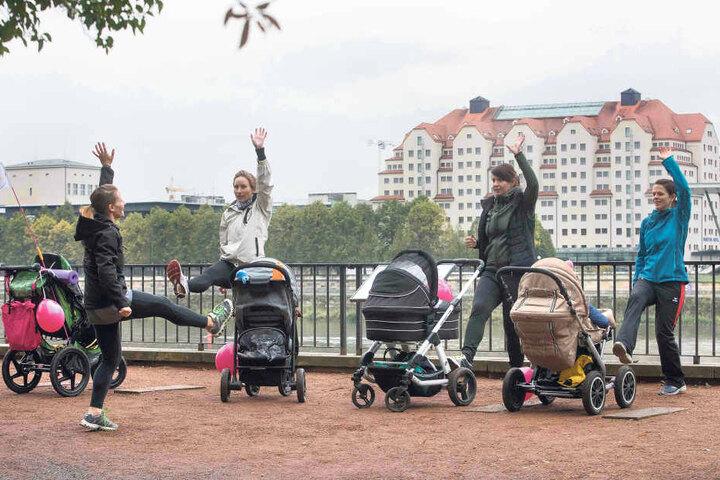 Mit dem von der Krankenkasse bezuschussten Kinderwagen-Sport können Mütter  nach der Geburt wieder fit werden.