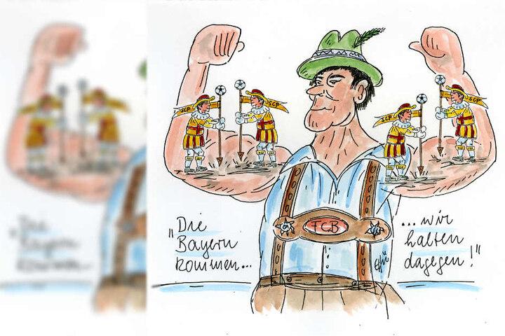 Emsige Paderborner machen sich auf den Muskeln eines bayerischen Muskelprotzes zu schaffen.