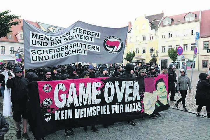 400 Antifa-Anhänger demonstrierten am Sonnabend durch Wurzen.