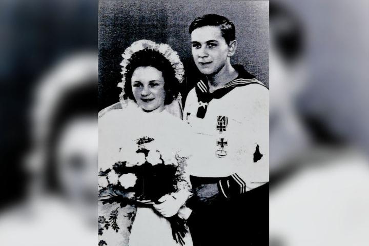 Edith und Martin Beisheim während ihrer Vermählung am 06.07.1943.