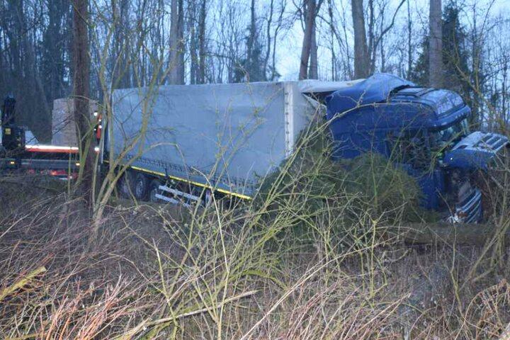 Im Unterholz kam der Lastwagen zum Stehen.