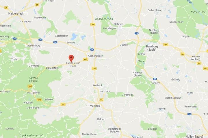 Der Unfallort liegt in Ermsleben, einem Ortsteil von Falkenstein im Harz.