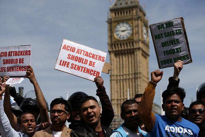 Demonstration in London gegen Säureattacken: Die Menschen fordern lebenslange Haft für die Täter.